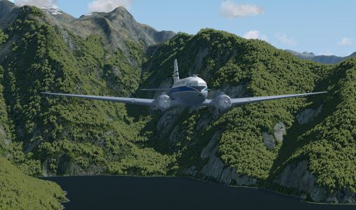 NZ Warbirds Dakota at Milford Sound