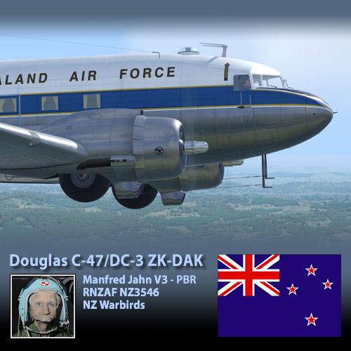 Manfred Jahn Douglas C47/DC-3 PBR : NZ Warbirds ZK-DAK